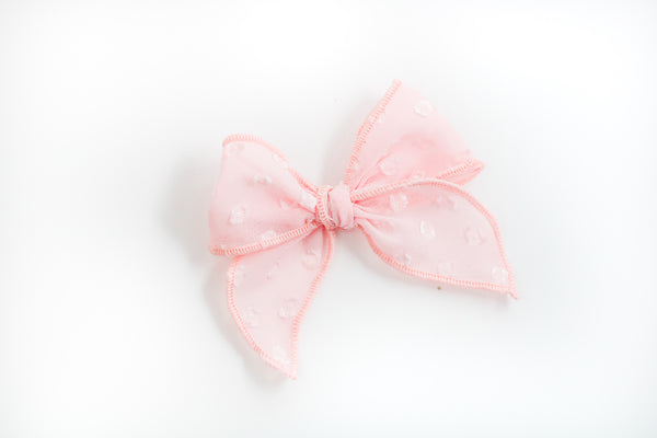 Blush Swiss Dot Catherine Bow