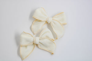 Cream Velvet Catherine Bow