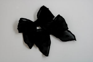 Black Swiss Dot Catherine Bow