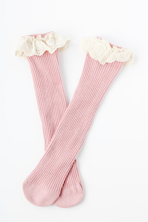 Lace Top Knee Highs  // Pink