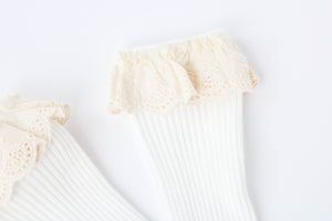 Lace Top Knee Highs  // White