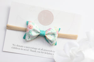 Peachy Floral - Adeline Bow