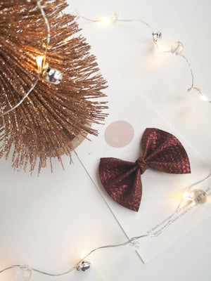 Metallic Embossed Maroon Everleigh Bow