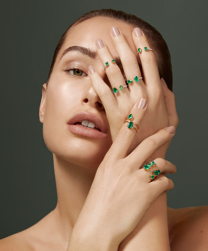 Aegean Ring in Zambian emeralds and 18kt gold by House of Meraki