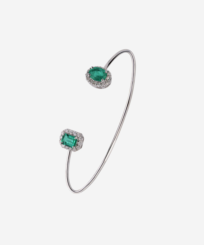 Blue Ivy open bracelet set with Zambian emeralds and diamonds