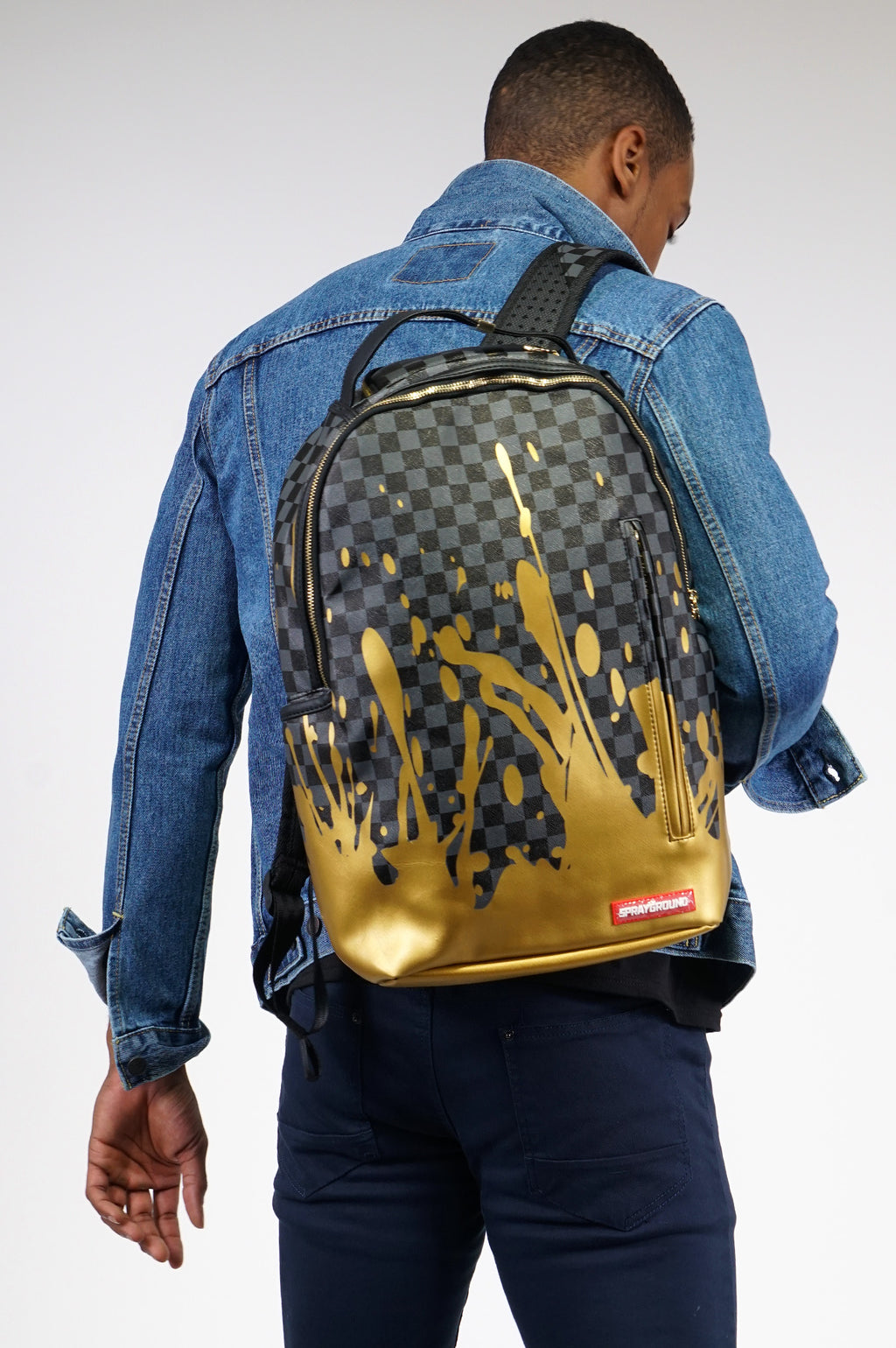 Sprayground Gold Checker Splat Backpack