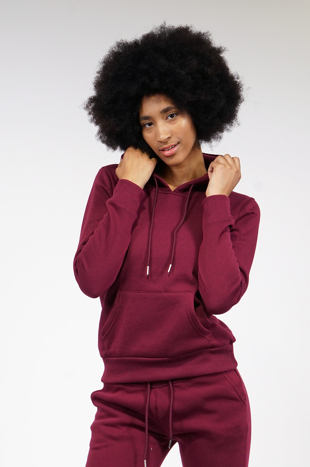 AAO FASHION WOMENS FLEECE BASIC HOODIE