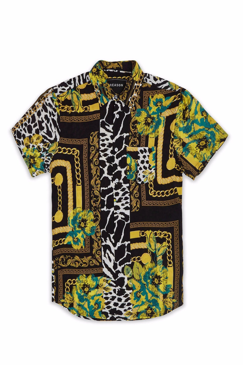Reason Men Floral And Chains Woven Shirt
