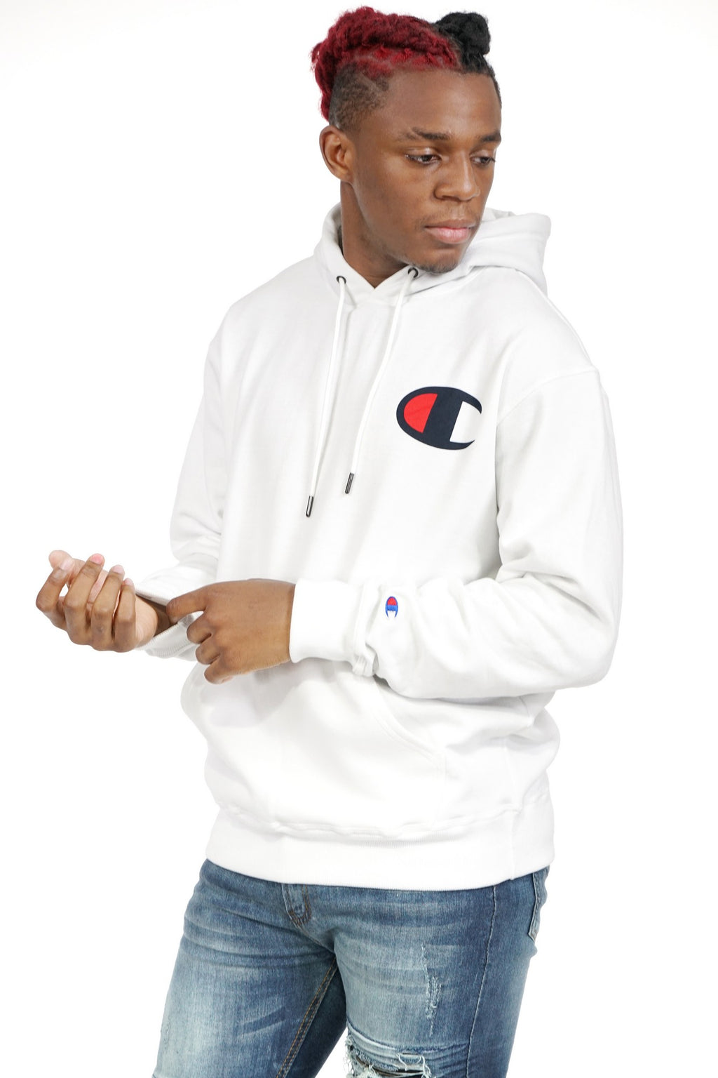 CHAMPION MENS GRAPHIC POWERBLEND BIG C LOGO HOODED