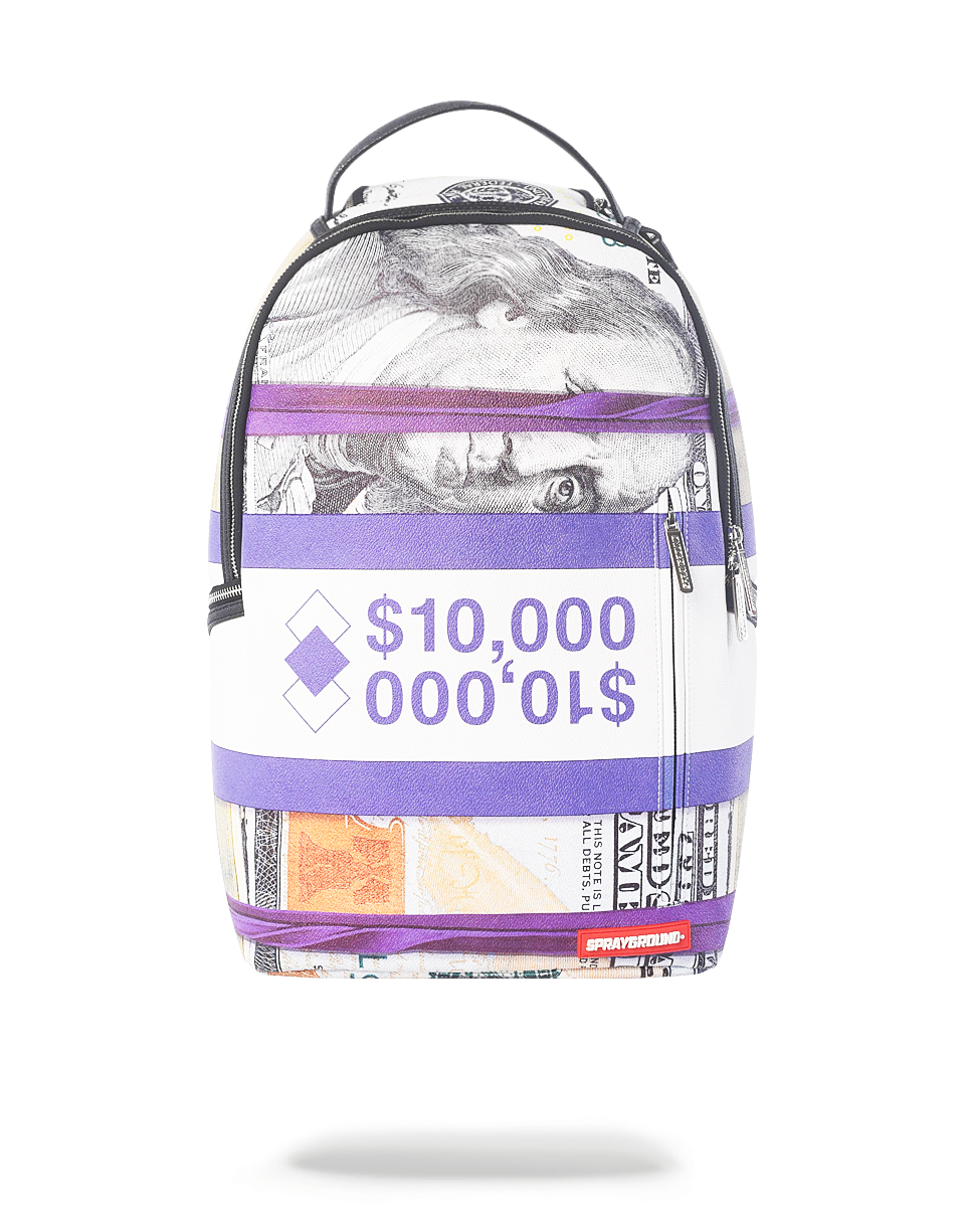 SPRAYGROUND PURPLE MONEY STACKS BACKPACK