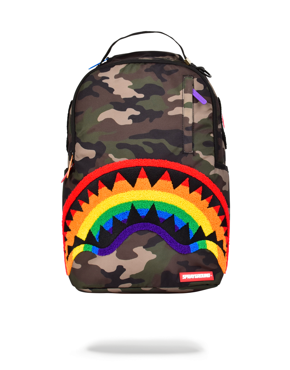 SPRAYGROUND CHENILLE RAINBOW SHARK BACKPACK