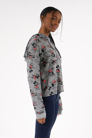 Aao Fashion Women All Over Print Mickey And Miney Crop Hoody
