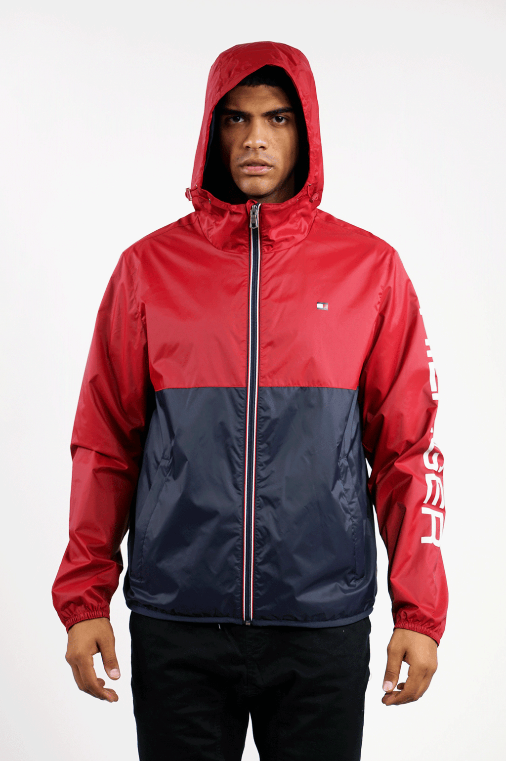 TOMMY HILFIGER OUTERWEAR MENS COLORBLOCK WINDBREAKER