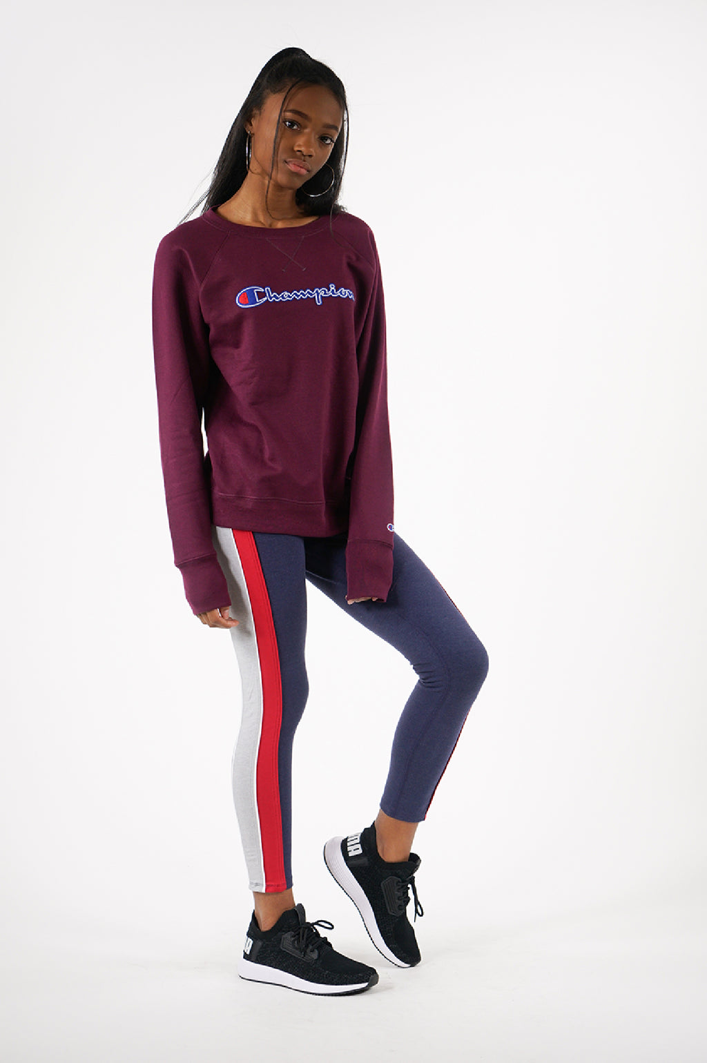 Champion Womens L/S Powerblend Fleece Boyfriend Crew