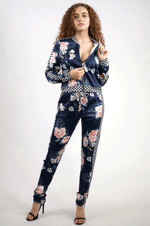 AAO FASHION WOMENS FLOWER PRINT JOGGER SET-TOP