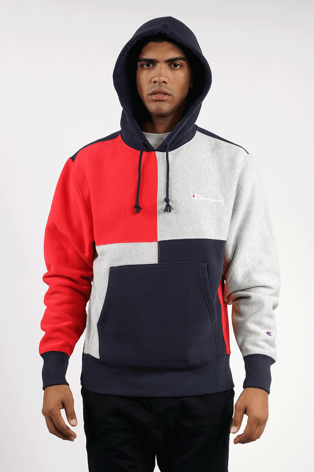 CHAMPION MENS REVERSE WEAVE COLORBLOCK PULLOVER
