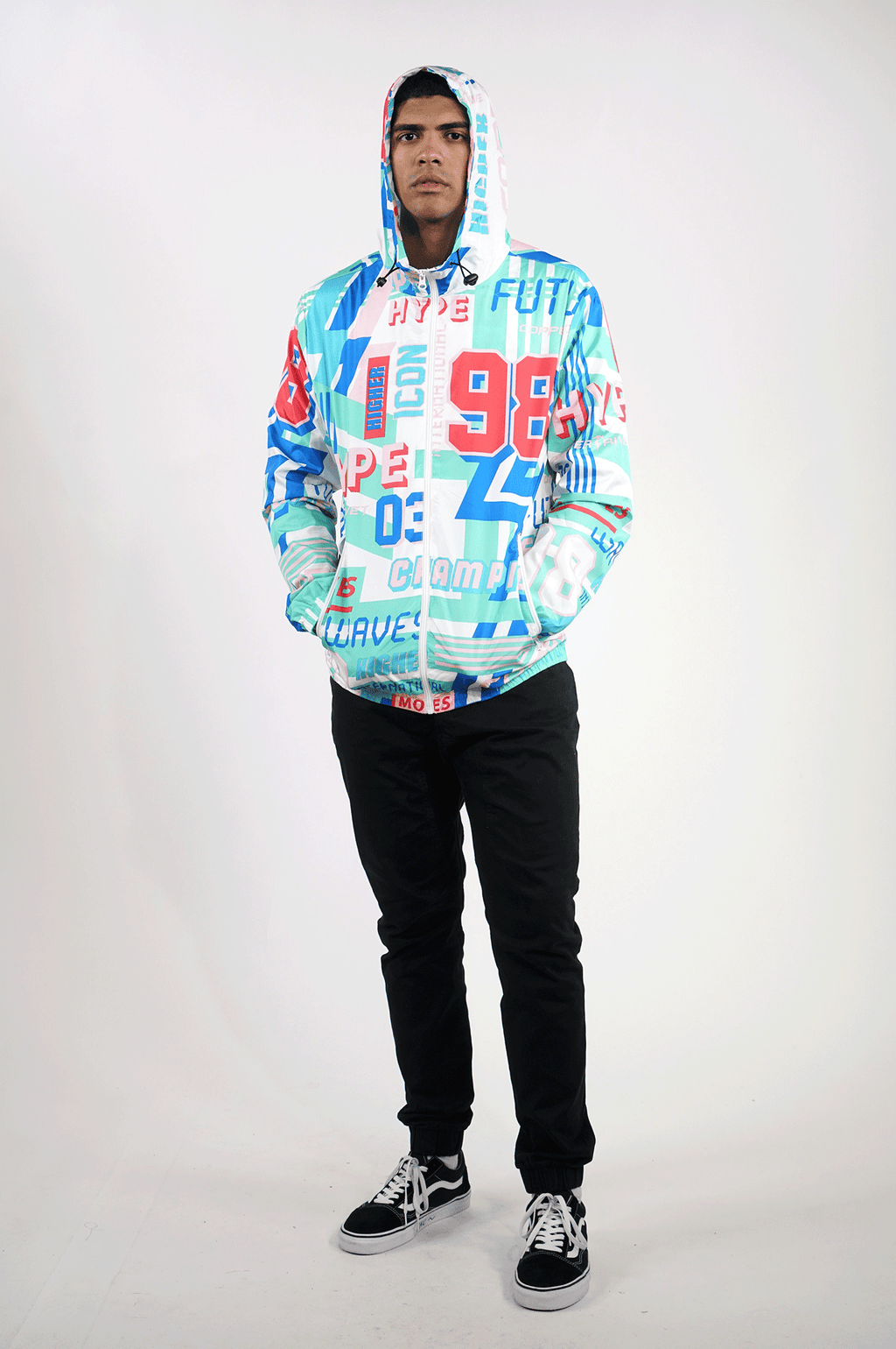 AAO FASHION MENS ALL OVER PRINT WINDBREAKER