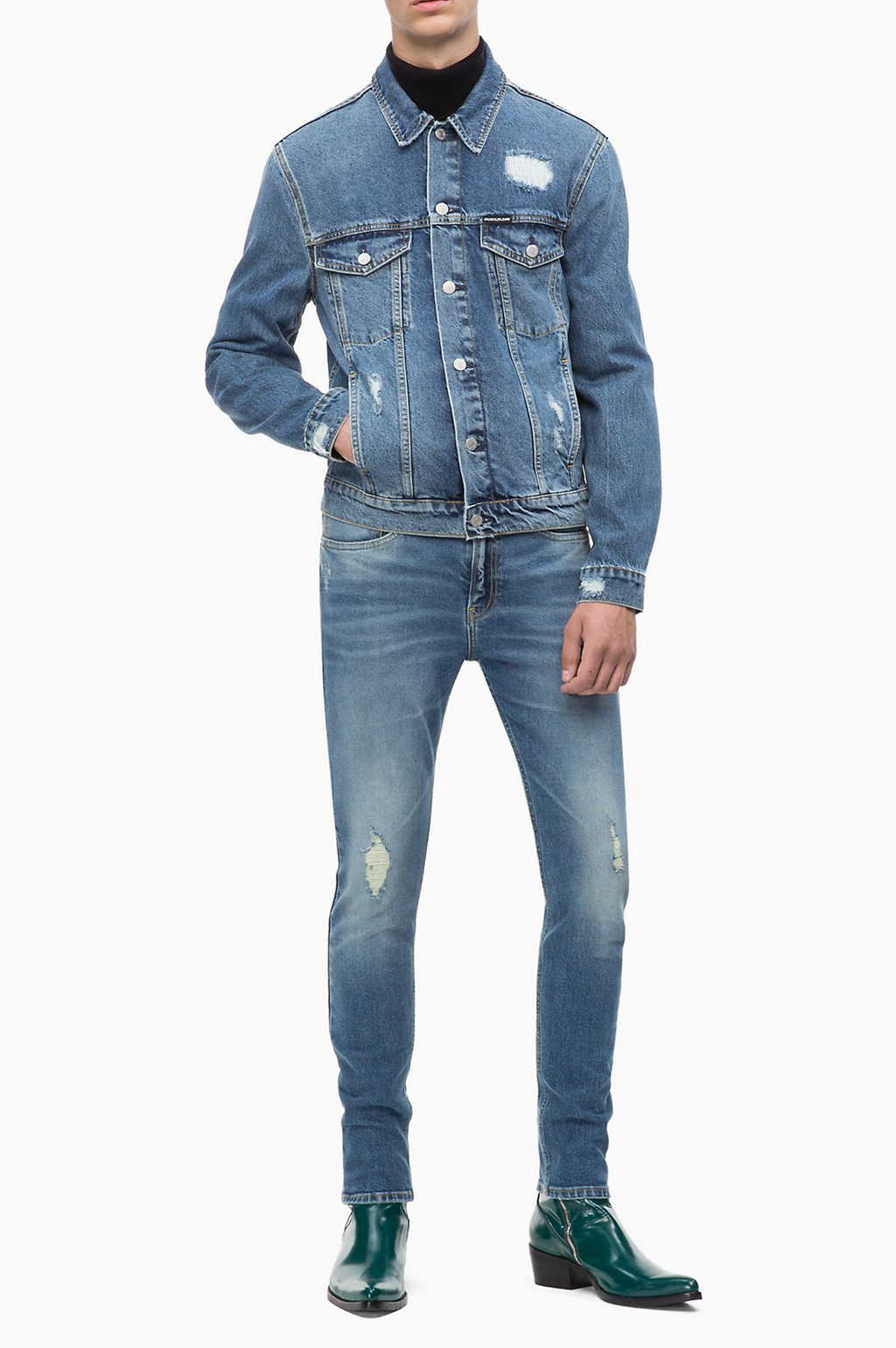 CALVIN KLEIN JEANS MENS DESTRUCTED TRUCKER DENIM JACKET