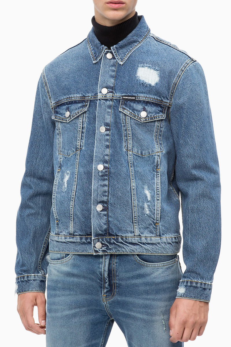 bca056692de CALVIN KLEIN JEANS MENS DESTRUCTED TRUCKER DENIM JACKET – AAO-USA.COM