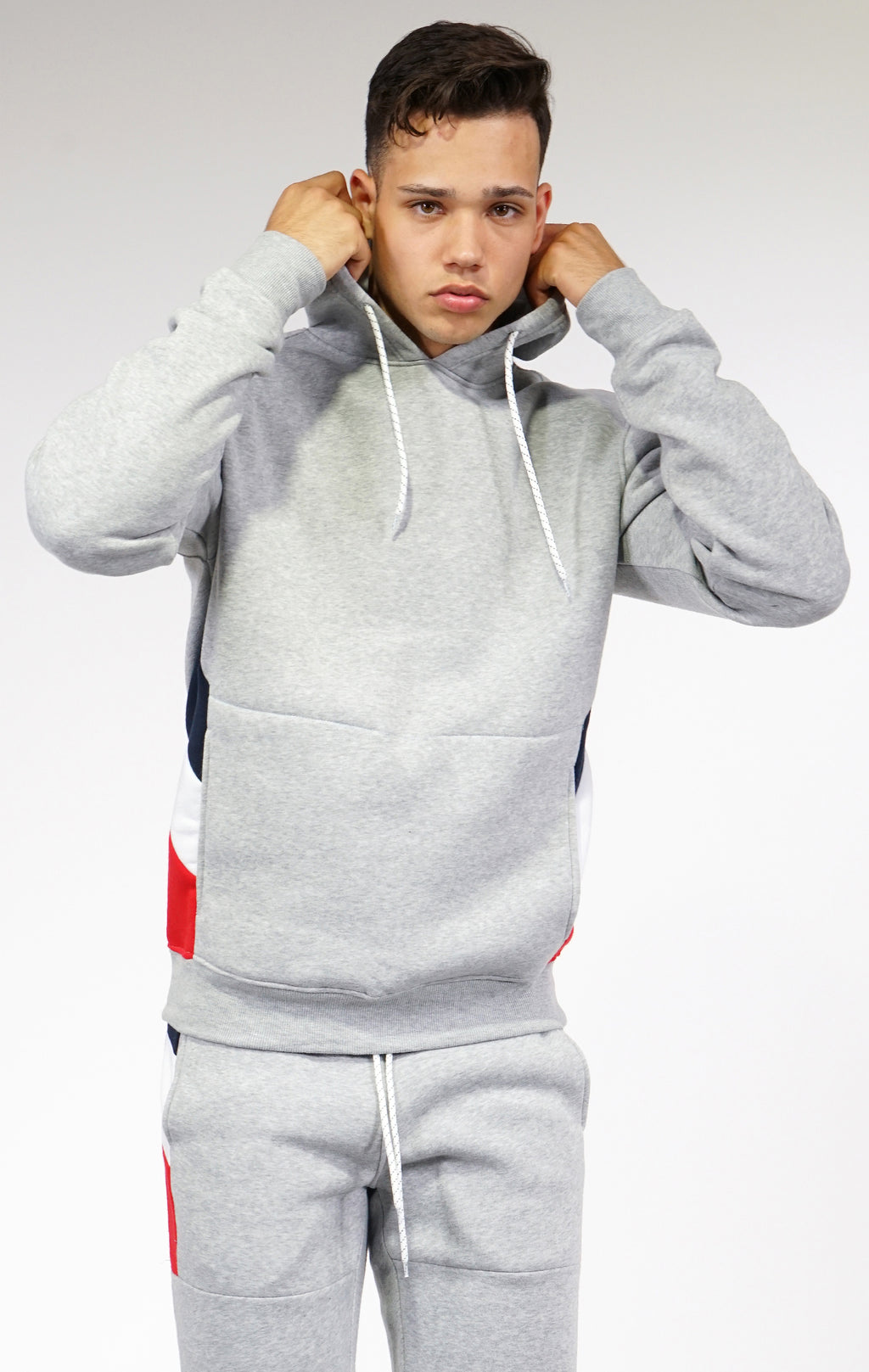 Aao Fashion Mens Fleece Hoody W/ Body Cut