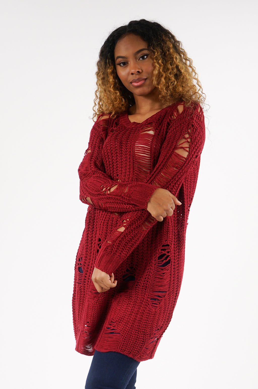 Aao Fashion Womens Ripped Sweater
