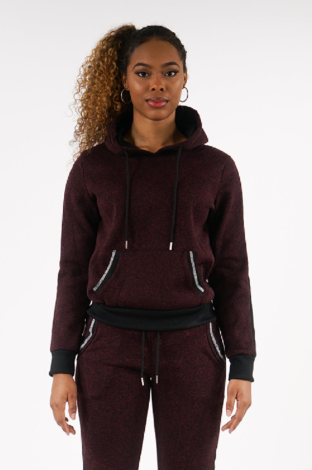 Southpole Womens Marled Fleece Pullover W/Lurex Rib Hoodie