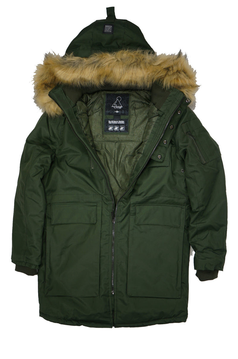 AAO FASHION MENS OXFORD TWILL HOODED FAUX FUR