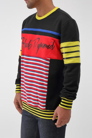 40d87534cc BLACK PYRAMID MEN ROCKER LOGO MULTI STRIPE CREW – AAO-USA.COM
