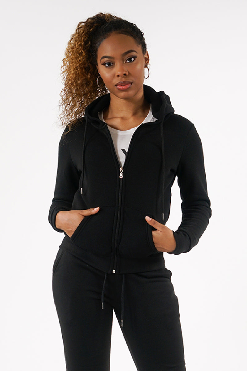 AAO FASHION WOMENS FULL ZIP BASIC FLEECE HOODIE