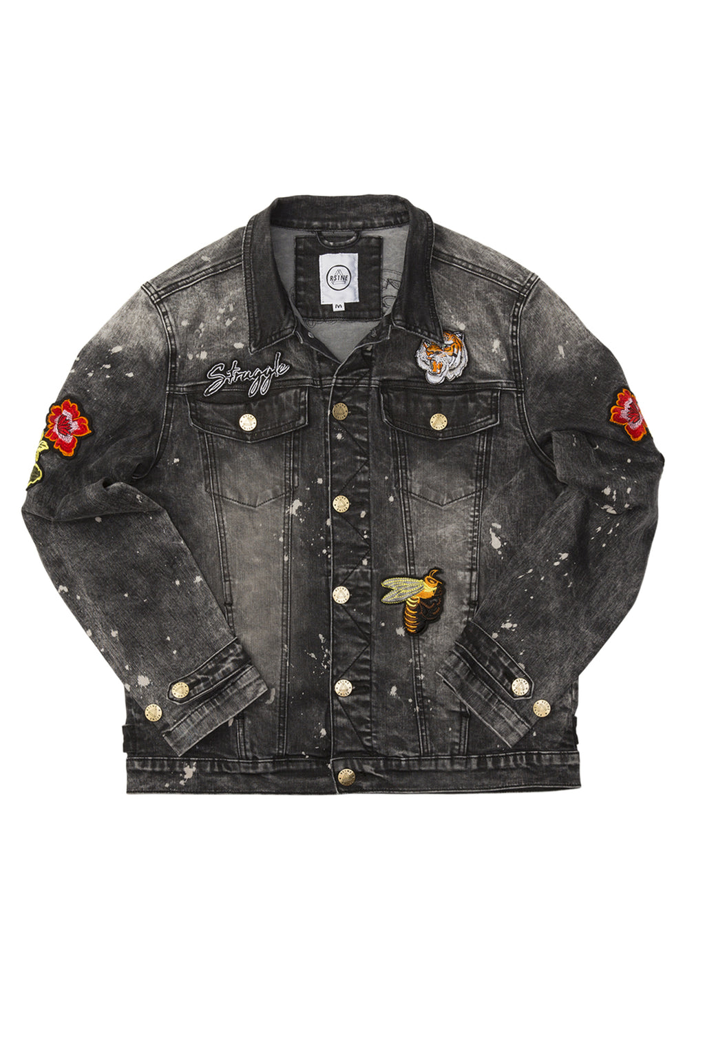 RISE AS 1NE MENS PATCHED PAINT SPLATER DENIM JACKET