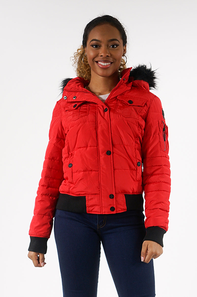 AAO FASHION WOMENS PUFFER BOMBER W/FUR