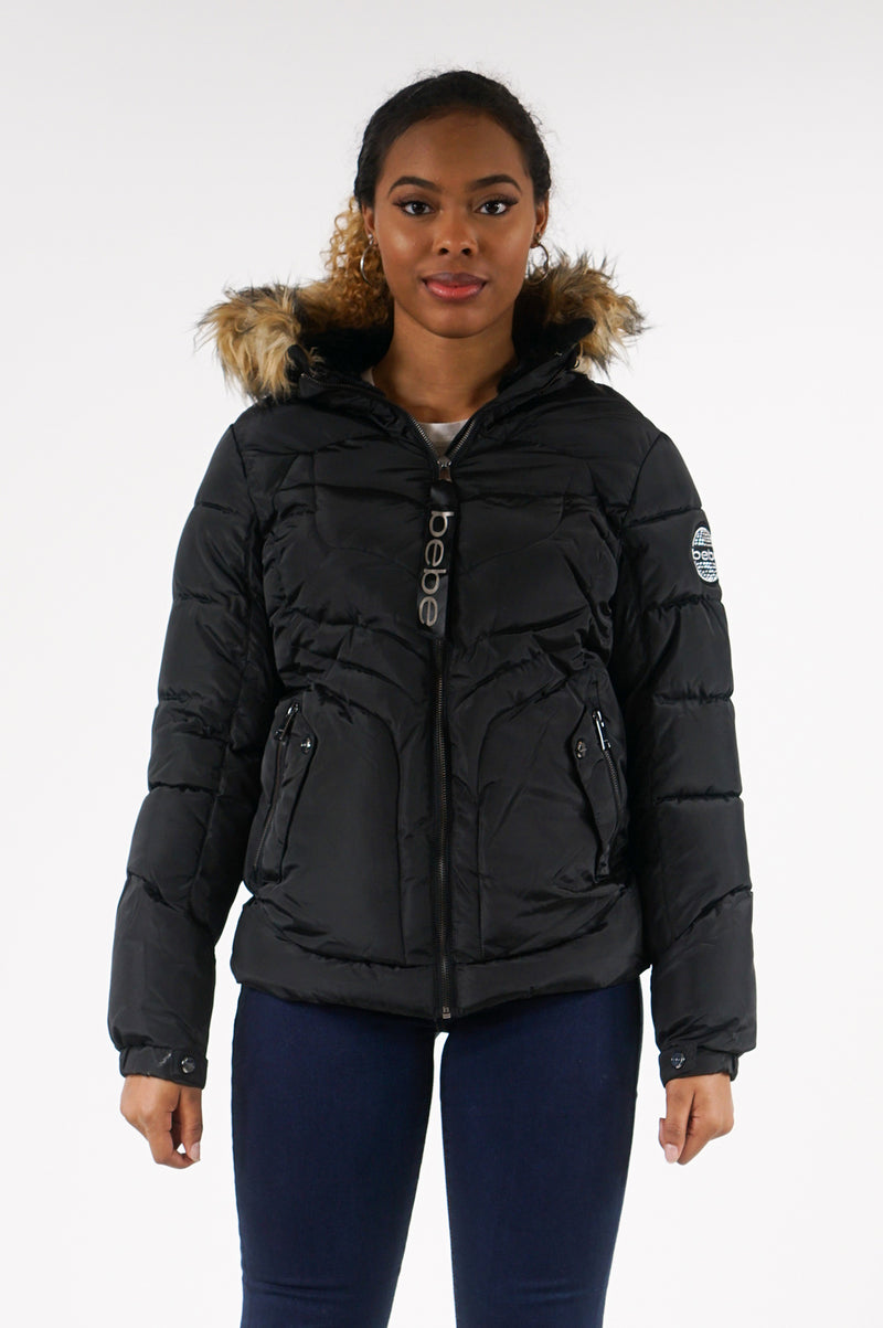 AAO FASHION WOMENS MID LENGTH PUFFER JACEKT W/FUR