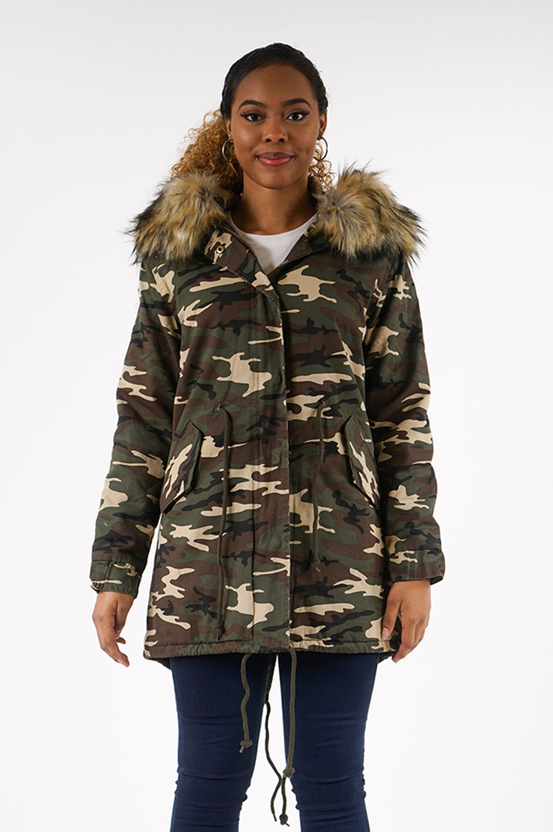AAO FASHION WOMENS TWILL JACKET W/COLOR FUR