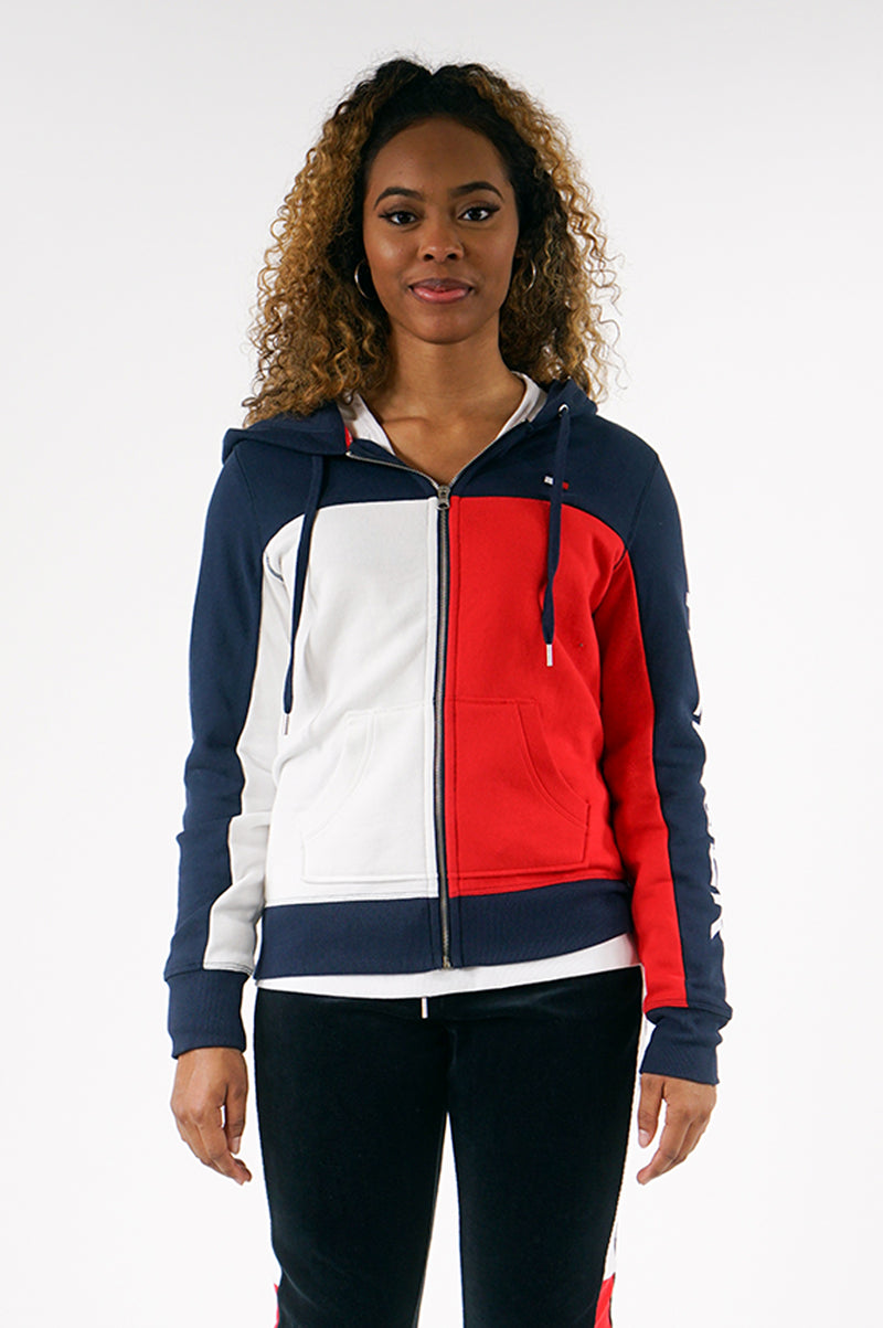 TOMMY HILFIGER OUTERWEAR WOMENS COLORBLOCKED LOGO ZIP FRONT HOODIE
