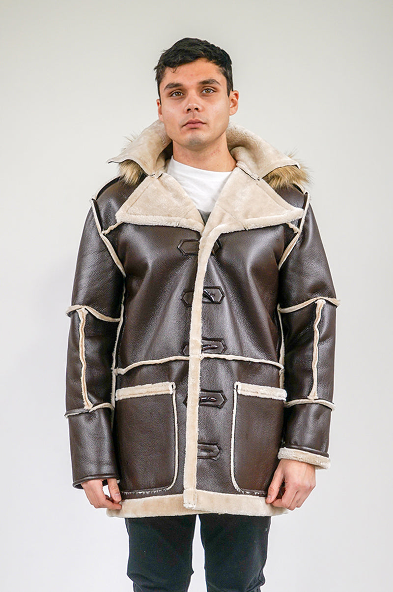 Aao Fashion Mens Faux Shearling Duffle Coat