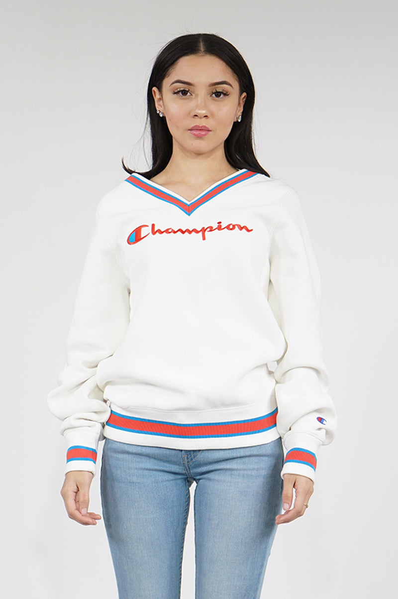 Champion Womens Reverse Weave V Neck Fleece Crew