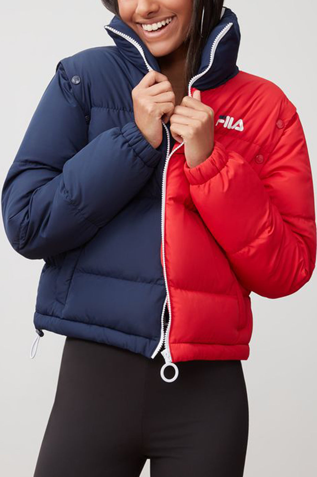 Fila Womens Martina Snap Off Sleeve Crop Puffer