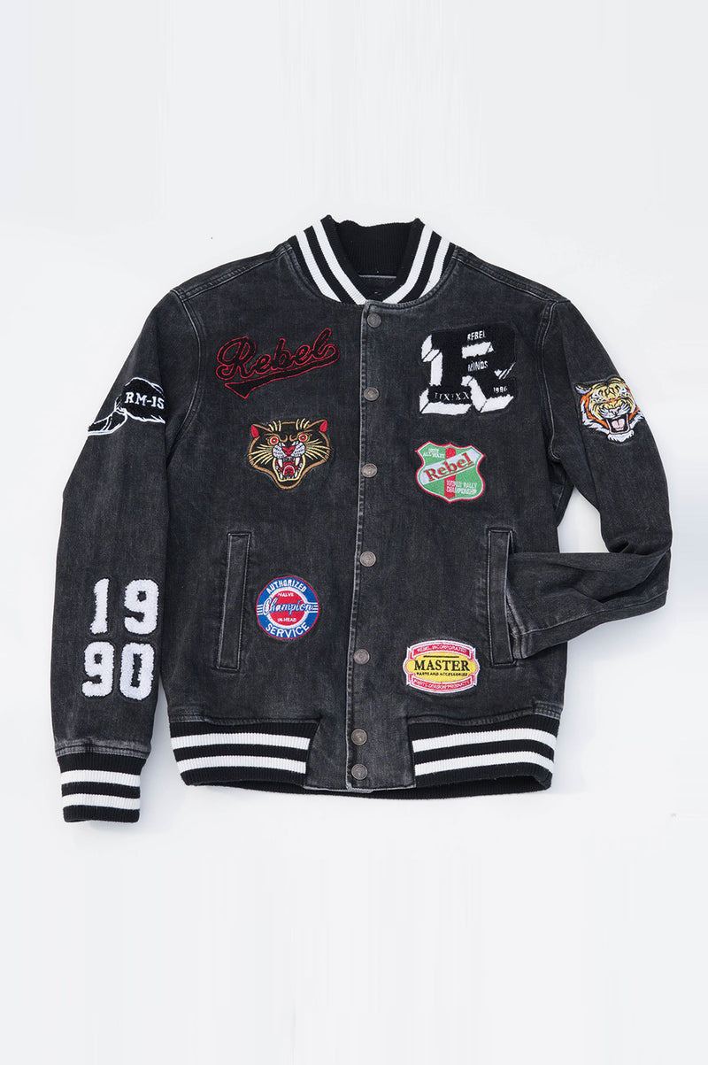 Aao Fashion Mens Varsity Denim Jacket With Multi Patches