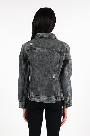 Aao Fashion Women Ripped Basic Denim Jacket