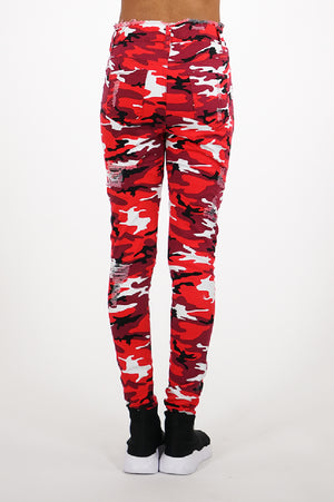 Aao Fashion Women High Waist Ripped Camo Pants