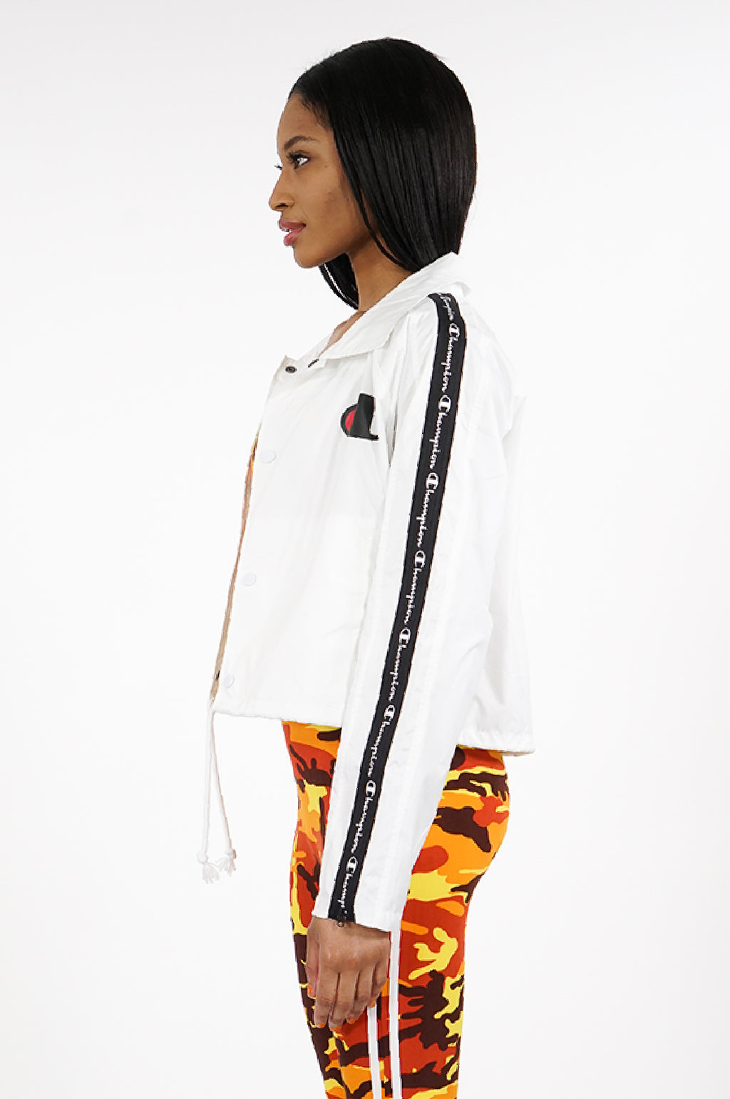 Champion Women Zipper Tape Cropped Coaches Jacket