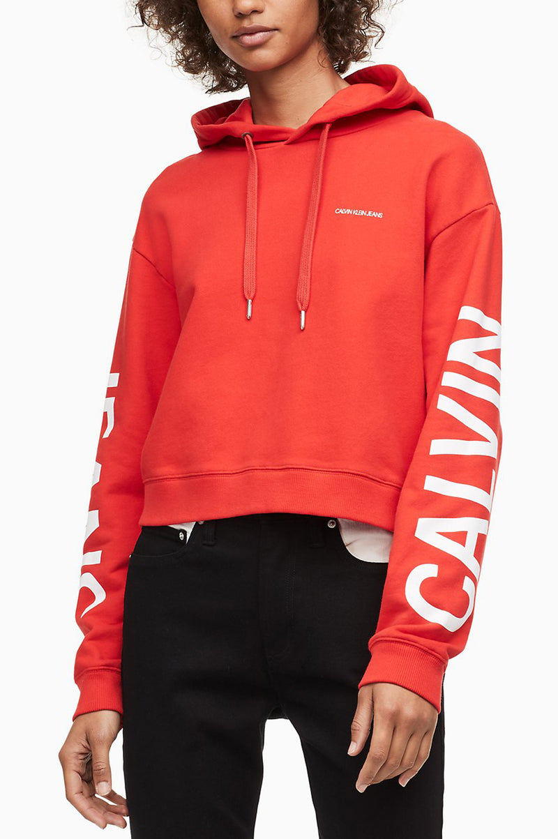 Calvin Klein Women Cropped Institutional Hoodie