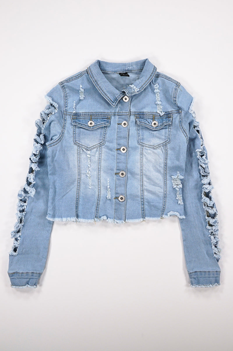 Aao Fashion Women Heavy Ripped Denim Jacket