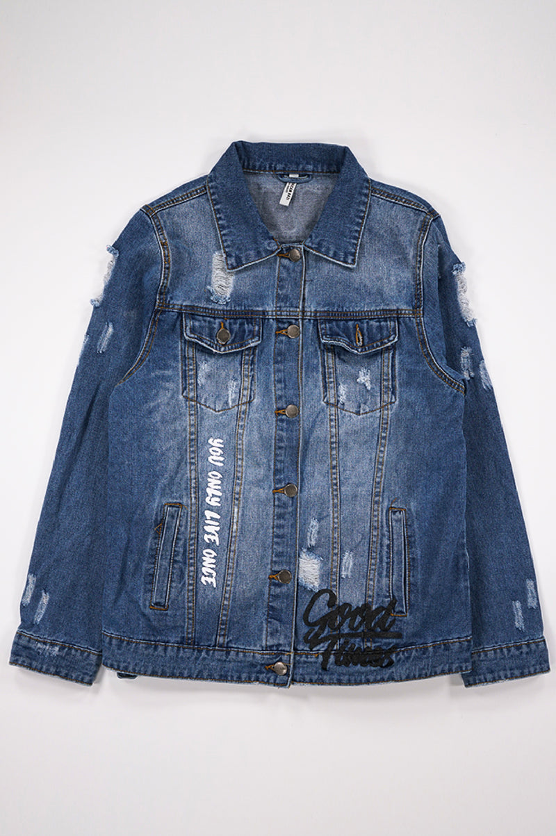 Aao Fashion Women Back Tiger Patched Denim Jacket