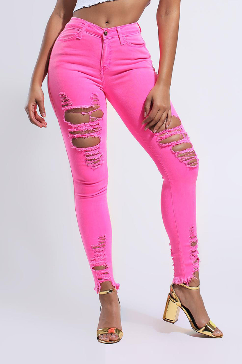 Vibrant Women Neon Raw Edges Skinny Jeans