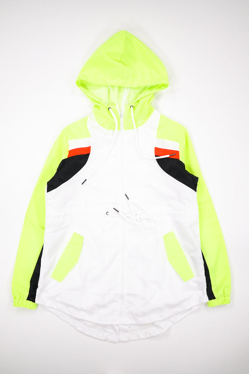 Aao Fashion Women Long Wind Breaker Neon Color