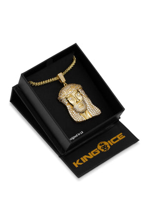 Aao Fashion Acc Men Necklace 14K Gold Cz Jesus Piece