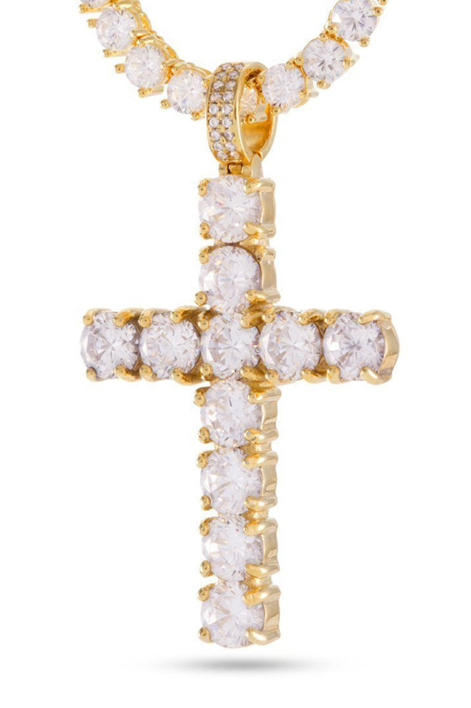 Aao Fashion Acc Men Necklace 14K Gold Tennis Cross Set