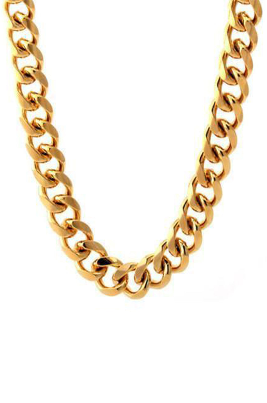 Aao Fashion Acc Men Necklace S/S 14K Gold Miami Cuban Curb