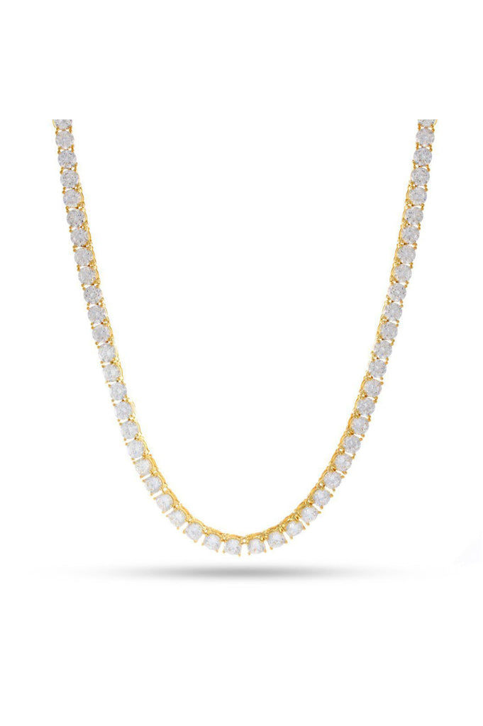 Aao Fashion Acc Men Necklace 14K Gold Single Row Tennis-5mm 26Gld